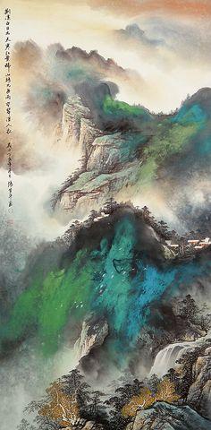 Chinese Landscape Painting. 題識水,筆下大氣磅礡、意境悠遠,自成一體。