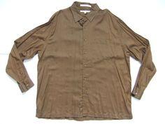 PERRY ELLIS   Men's Shirts Size-2XL  Brown Long Sleeve Very Good!  #PerryEllis