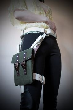 steampunk holsters bag | Unisex Thigh Holster Bag - Cream, Brown, Green Canvas - steampunk ...