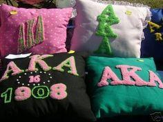 Alpha Kappa Alpha hand made Pillows. I love mine!