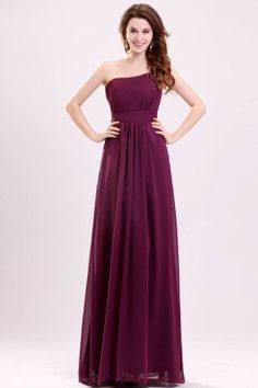 One-shoulder Chiffon Long Bridesmaid Dress, very simple but comes in a lot of colors
