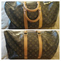 Authentic Louis Vuitton Keepall 45 Overall a beautiful bag, though there are some signs of aging on the leather. No tears, rips or holes in the canvas. Comes with a lock and key.  Please ask me for more photos if you need them! Both side tabs are whole, though there is a crack in the lower end of one. Light vintage smell. One zipper pulls smoothly. Handles have light darkening and spots. I have taken photos of cracking and darkening on the leather of the straps where it was folded. Louis…