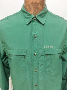 LL Bean Kelly Grean Long-Sleeve Nylon Shirt Mens M - Reg #LLBean #ButtonFront
