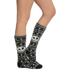 The Nightmare Before Christmas Fair Isle Knee-High Socks   Hot Topic ($13) ❤ liked on Polyvore featuring intimates, hosiery, socks, christmas knee socks, knee-high socks, christmas socks, christmas hosiery and knee socks
