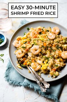 This simple shrimp fried rice recipe is ready in 30 minutes. Serve it with a side of stir-fried green beans or my Chinese garlic cucumber salad. #dairyfree #shrimp #fried #rice Shrimp And Eggs, Shrimp Fried Rice, Shrimp Dishes, Easy Rice Recipes, Asian Recipes, Healthy Recipes, Fast Recipes, Healthy Breakfasts, Healthy Foods