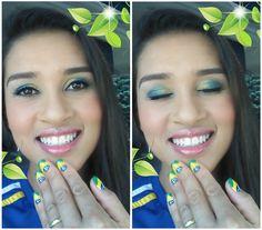Maquiagem da semana. Inspiração na Copa 2014, na torcida do Brasil./ Makeup of the week. Inspiration in the 2014 World Cup in Brazil.