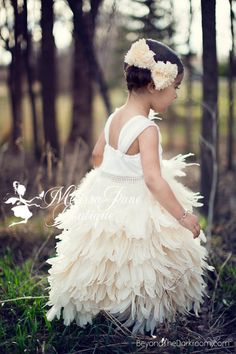 Exquisite Elegant Luxury Girls Feather by MelissaJaneBoutique