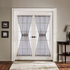 Lush Decor Antique Gray 72-inch French Door Panels ($34) ❤ liked on Polyvore featuring home, home decor, window treatments, curtains, grey, grey sheer curtains, gray sheer curtains, sheer door panels, french door panels and geometric pattern curtains