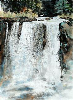 Waterfall - Mckenzie River Waterfall, WA (spontaneous style) - by Lian Quan Zhen (b. Watercolor Water, Watercolor Artists, Watercolor Landscape, Landscape Art, Landscape Paintings, Watercolor Paintings, Watercolours, Beautiful Waterfalls, Beautiful Landscapes