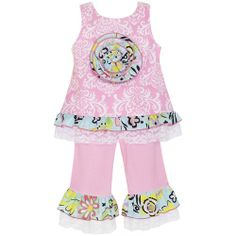 100% cotton pink damask outfit www.facebook.com/periwinkleprincessboutique