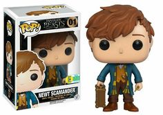 "Fantastic Beasts' Newt Scamander gets his own Funko Pop! collectible""The Funko Pop! figure includes Newt's wand, his Hufflepuff scarf, and the magical case that holds all of his mystical creatures. Pop Vinyl Figures, San Diego Comic Con, Draco Y Hermione, Collection Harry Potter, Harry Potter Pop, Funko Pop Dolls, Pop Figurine, Miss Peregrine, Funko Figures"