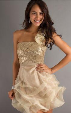 Short One Shoulder Gold Loveliness Princess Dress