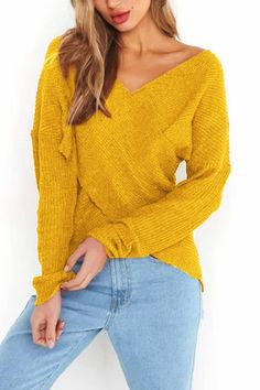 Yellow Cross Front Design One Shoulder Sweater