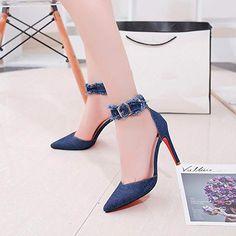 a6aba73373e 31 Best heels denim images in 2018 | Heels, Denim heels, Shoes