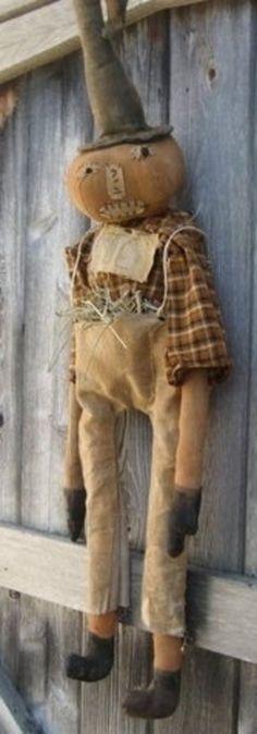 Primitive Grungy Olde Halloween Pumpkin Doll                                                                                                                                                                                 More