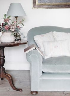 The classic soft blue colour of this lovely cotton velvet has a beautiful antique feel to it and is the perfect complement to many of our linen designs. Velvet Blue. #velvet #sofa #homedecor
