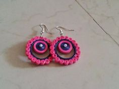 Earrings Quiling Earings, Paper Quilling Earrings, Quilling Letters, Quilling Paper Craft, Pink Jewelry, Paper Jewelry, Paper Beads, Jewelry Crafts, Quilling Designs