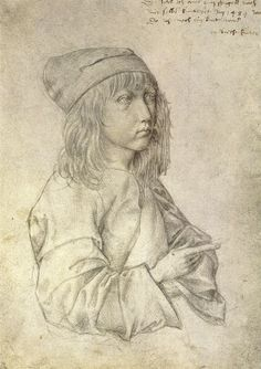 "Albrecht Dürer: Self-portrait at the age of thirteen (1484), Albertina, Vienna. An inscription was added many years later: ""I drew this myself from a mirror in the year 1484, when I was still a child. Albrecht Dürer."""