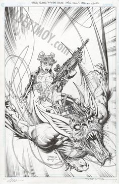 Albert Moy : Original Comic Art - HARLEY QUINN AND THE SUICIDE SQUAD APRIL FOOL'S SPECIAL by JimLee
