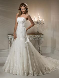 exquisite lace wedding dress a-line gown with scallop neckline and jewel encrusted band
