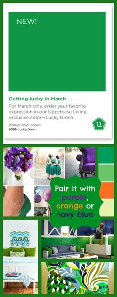 Exclusive color for March from Uppercase Living = Lucky Green! Pair it with purple, navy blue or orange. #uppercaseliving #green #lucky #inspirationwithkathryn #color #orange #navyblue #purple #march