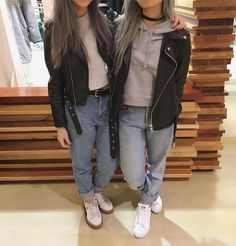 "169 Likes, 4 Comments - Pamela Chua (@pdchua) on Instagram: ""Who is who???!!?!!?!"" leather jacket Levi jeans hoodie aritzia ootd outfit"