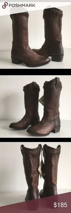 """FRYE DIANA CUT STUD TALL BOOTS IN DARK BROWN FRYE DIANA CUT STUD TALL BOOTS IN DARK BROWN, 78012, SIZE 5.5, HEIGHT HEEL 2 3/4"""", SHAFT 10"""", CIRCUMFERENCE 14"""", PULL-ON, ROUN-TOE, BRAND NEW WITHOUT BOX Frye Shoes Ankle Boots & Booties"""