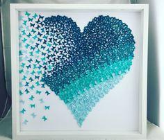 Corazón de mariposa del arte de papel 3D  tonos de ombre Teal