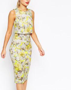ASOS | ASOS Neon Yellow Crop Top Pencil Dress at ASOS