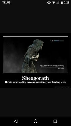 Sheogorath is my fav Daedric prince of all time. Hircine and Sithis come at a tied second.