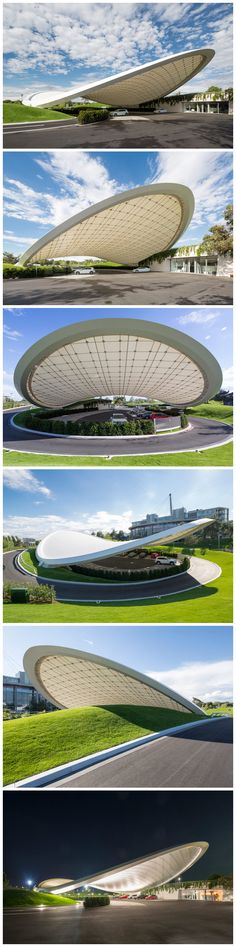 Organic forms kiosk design, from the German design firm Graft and its partners This high-tech kiosks in Wolfsburg, Germany, curve shape, the angle of tilt, car from rain and direct sunlight, while allowing enough daylight to avoid costly and unnecessary artificial light.