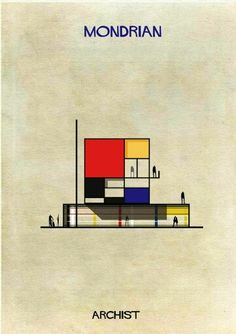 Archist by federico babina #illustration #mondrian #architecture