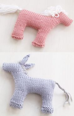 Free Knitting Patterns for Rosy Pony and Baby BurroThese easy toys are knit flat and seamed. 5 in. (12.5 cm) tall. From Lion Brand yarn