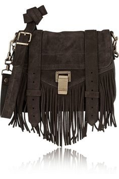 Proenza Schouler | The PS1 Pouch small fringed suede shoulder bag | NET-A-PORTER.COM