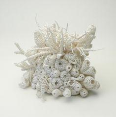amazing crocheted paper yarn sculpture