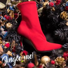 SANTE pointed toe stiletto ankle sock boot for stunning xmas looks! Ankle Socks, Color Trends, Red Color, Festive, Xmas, Toe, Booty, Black, Fashion
