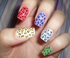 leopard nails in different colors rock