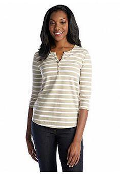 Kim Rogers Bright Stripe Henley Khaki/White 3/4 Sleeves Size XL  NWT Ladies #KimRogers #StripedHenley #Casual