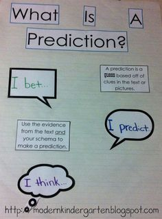 Modern Kindergarten: Prediction Anchor Want to add I guess! Kindergarten Anchor Charts, Science Anchor Charts, Kindergarten Reading, Teaching Reading, Teaching Tools, Reading Activities, Guided Reading, Teaching Ideas, Language Arts Posters
