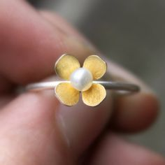 Mini Dogwood Blossom Ring --- 24 karat gold keum boo --- made to your size. $58.00, via Etsy. size 8