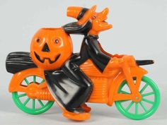 Halloween Plastic Witch on Motorcycle, 1950s