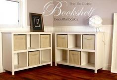 I want to make this!  DIY Furniture Plan from Ana-White.com  Bookcase that is designed to fit standard fabric cubes. Thank you Hillary for sharing your photos.