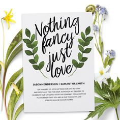 Nothing Fancy Just Love, Wedding Announcements, Elopement Announcement cards, Wedding Announcement Cards for sale Wedding Reception Design, Wedding Party Invites, Wedding Labels, Wedding Cards, Wedding Ideas, Party Invitations, Wedding Favors, Wedding Stuff, Wedding Envelopes