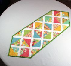 Spring and Easter Triangles Table Runner with by QuiltSewPieceful