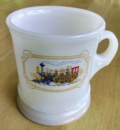 Vintage Avon Milk Glass Train Shaving Mug EUC