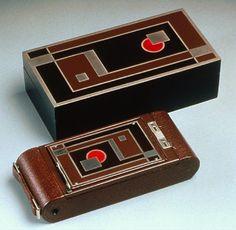 Walter Dorwin Teague 1930 Kodak Bantam Special camera and box.
