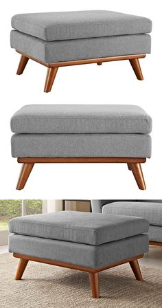 Rest easy with the help of this ultra-chic and super-cozy ottoman. With a clean, dual cushion upper design and subtly slanted tapered wood legs, this Scranton Ottoman boasts an unmistakable mid-century... Find the Synchronicity Ottoman, as seen in the #Mid-Century Monochrome Collection at http://dotandbo.com/collections/mid-century-monochrome?utm_source=pinterest&utm_medium=organic&db_sku=117665