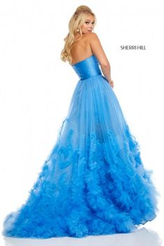 Buy dress style № 52693 designed by SherriHill Tulle Balls, Tulle Ball Gown, Ball Gowns, Blue Evening Gowns, Formal Evening Dresses, Strapless Dress Formal, Prom Dresses Blue, Homecoming Dresses, 15 Dresses