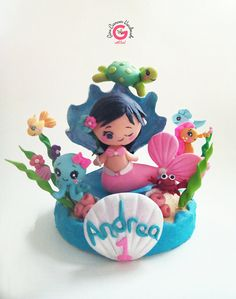 Childrens cake topper mermaid cake topper by GinaCarrascoHandmade