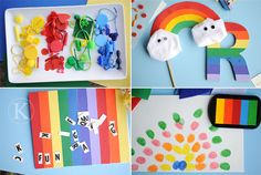 asuring Hunt Finds  Later we used these for all sorts of projects– sensory bottles, collages, sorting games   2.  Rainbow Stick Puppet   3.  Spelling and Counting Board  (modge podge + heavy canvas)   4.  Classic Preschool Thumb Print Rainbow
